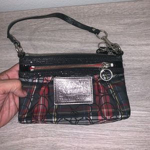 Coach poppy plaid wristlet